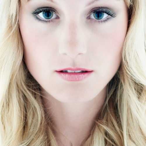 makeup for beauty editorial - headshot of blonde