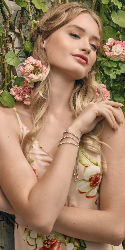 makeup for beauty editorial - woman in flowery dress
