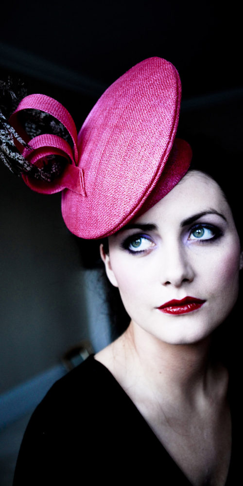 makeup for beauty editorial - woman in pink hat