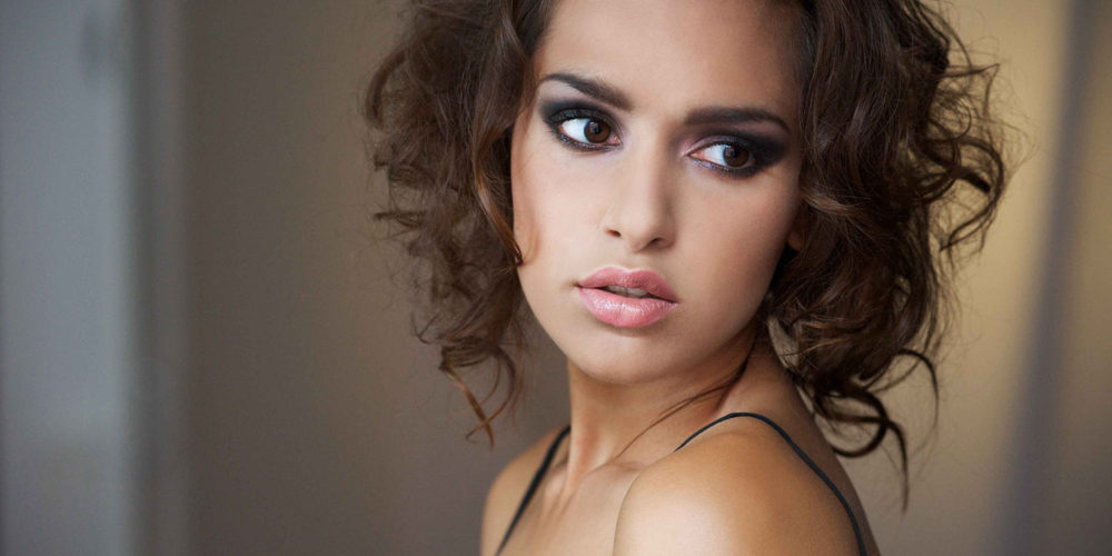 makeup for beauty editorial - brunette with brown eyes