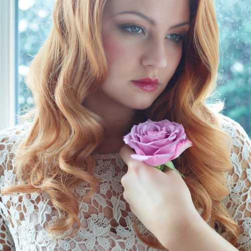 makeup for editorial shoot - bride with flower