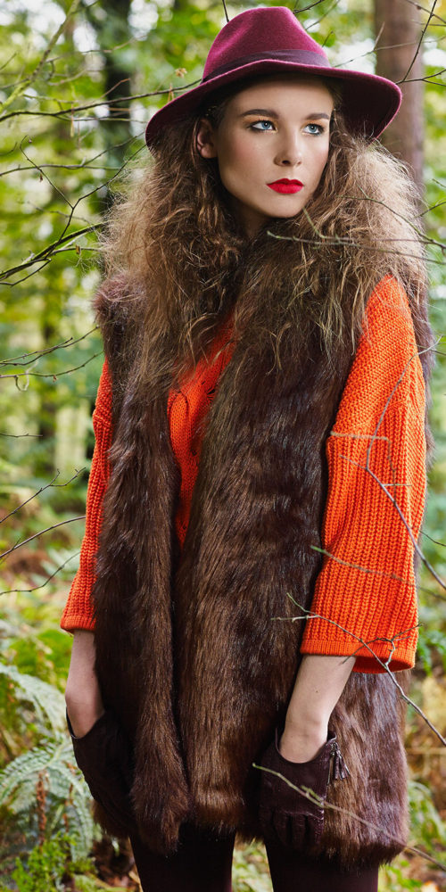 makeup for fashion shoot - model in fur coat and big hat