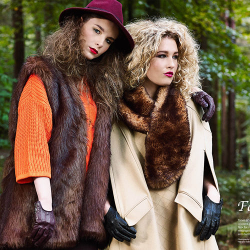 makeup for fashion shoot - 2 models in fur