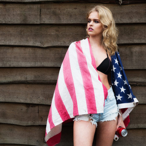 makeup for fashion shoot - model in US flag