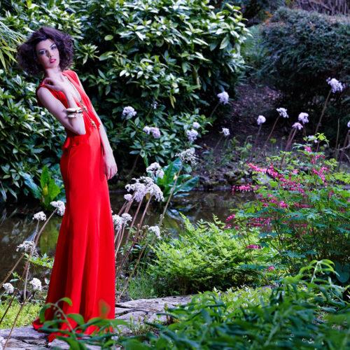 makeup for fashion shoot - woman in garden