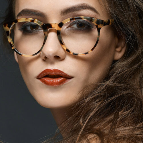 makeup for fashion shoot - woman in glasses