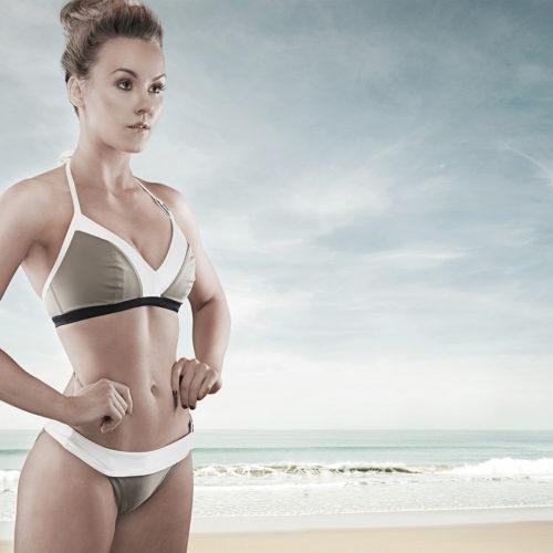 makeup for editorial shoot - woman in bikini