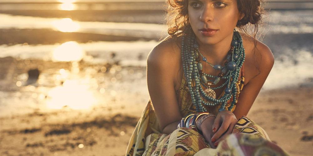 Makeup for fashion shoot - girl on beach