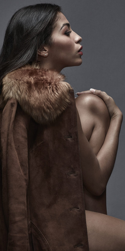 Makeup for fashion shoot - model wearing fur jacket
