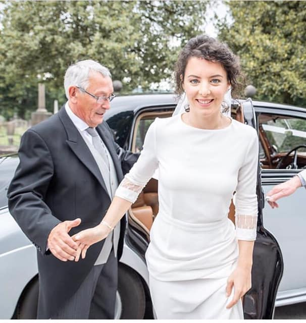 Bridal makeup - bride exiting the wedding car