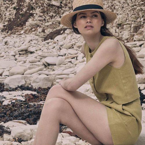 Makeup for fashion shoot - girl on pebble beach