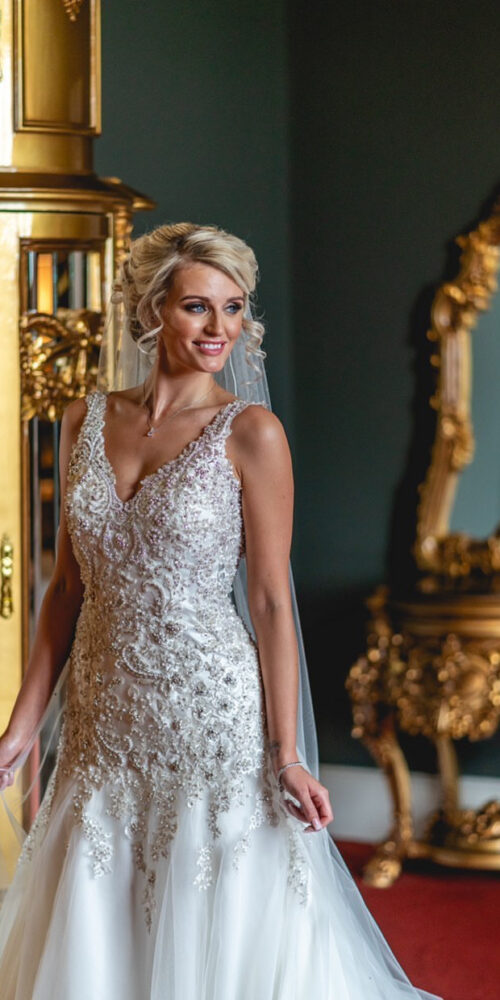 Bridal makeup - beautiful bride in wedding dress