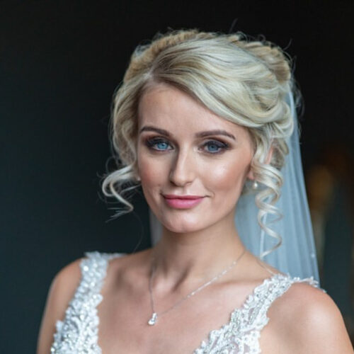Bride with makeup looking to camera
